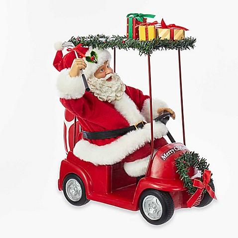 kurt adler fabrich santa driving golf cart. Black Bedroom Furniture Sets. Home Design Ideas