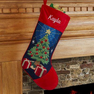 christmas tree needlepoint christmas stocking - Where To Buy Christmas Stockings