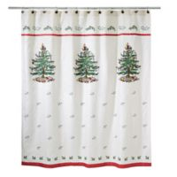 Avanti Spode Tree Shower Curtain in Red
