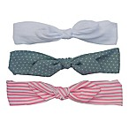 So'dorable 3-Pack Baby Bow Headband in Pink Stripe/White/Denim