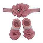 So'dorable Size 0-6M 2-Piece Chiffon Flower Headband and Bootie Set in Dusty Pink