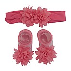 So'dorable Size 0-6M 2-Piece Microfiber Chiffon Flower Headband and Bootie Set in Coral