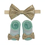 So'dorable Size 0-6M 2-Piece Headband and Bootie Set in Pale Gold/Aqua