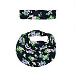 Sterling Baby 2-Piece Floral Scarf Bib and Headband Set in Navy