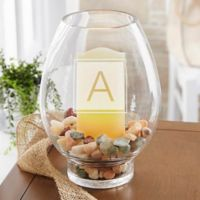 Classic Celebrations Monogram Glass Hurricane Holder