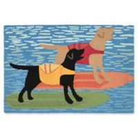 Liora Manne Surfboard Dogs 2-Foot 6-Inch x 4-Foot Indoor/Outdoor Accent Rug in Blue