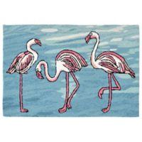 Liora Manne Flamingo 2-Foot 6-Inch x 4-Foot Indoor/Outdoor Area Rug in Blue