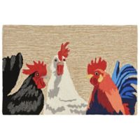 Liora Manne Barnyard Roosters Indoor/Outdoor 2-Foot 6-Inch x 4-Foot Accent Rug in Natural