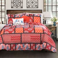 Lush Decor Meridian Reversible King Quilt Set in Red