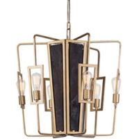 Veraluz Madeira 6-Light Chandelier in Rustic Gold with LED Vintage Bulbs
