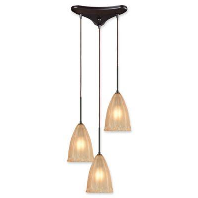Buy frosted glass pendant light shade lighting from bed bath beyond elk lighting calipsa 3 light pendant in bronze with amber frosted glass shades aloadofball Gallery
