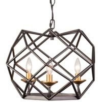 Varaluz Geo 3-Light Pendant in Antique Gold/Bronze