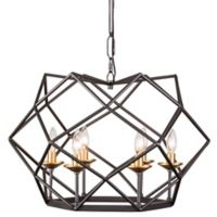 Varaluz Geo 6-Light Pendant in Antique Gold/Bronze