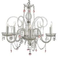 Gallery 5-Light Pink Hearts Crystal Swag Chandelier