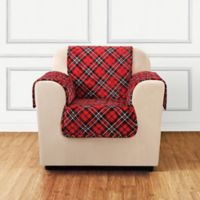 Sure Fit® Holiday Tartan Plaid Chair Protector in Red