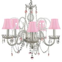 Gallery 5-Light Crystal Swag Chandelier with Pink Shades