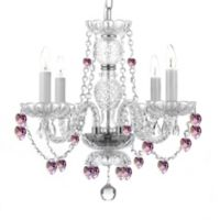 Gallery 4-Light Pink Hearts Crystal Chandelier