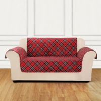 Sure Fit® Holiday Tartan Plaid Loveseat Cover in Red