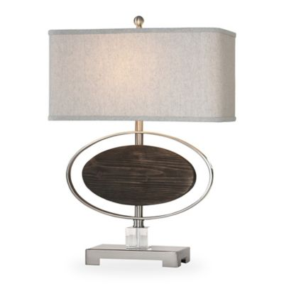 Uttermost Malik Table Lamp In Brushed Nickel With Oatmeal Linen Shade