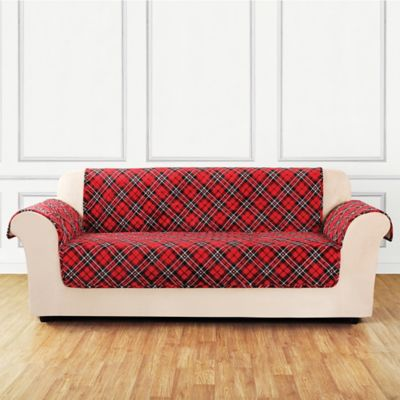 Sure Fit® Holiday Tartan Plaid Sofa Cover In Red