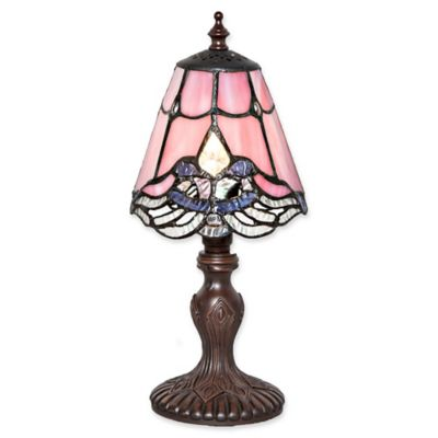 Elegant River Of Goods Stained Glass Crystal Lace Table Lamp In Pink
