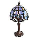 River of Goods Allistar 14-Inch Bronze Table Lamp with Blue Stained Glass Shade