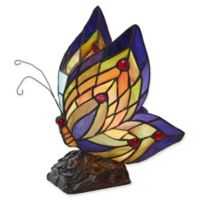 River of Goods Butterfly Wings Bronze Table Lamp with Stained Glass Shade