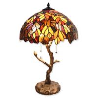 River of Goods Marvel Maple Table Lamp with Stained Glass Shade