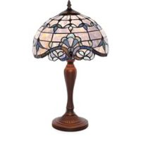 River of Goods Allistar 20.5-Inch Bronze Table Lamp with Blue Stained Glass Shade