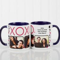 XOXO 11 oz. Coffee Mug in White/Blue