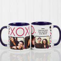 XOXO 11 oz. Coffee Mug in White/Blue