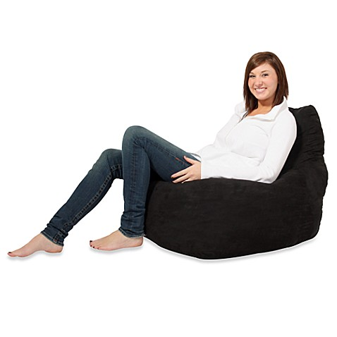 FUF Memory Foam Bean Bag Chair With Black Microsuede Cover