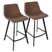 LumiSource Outlaw Counter Stools in Brown (Set of 2)