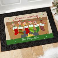 Stocking Family Characters 20-Inch x 35-Inch Door Mat