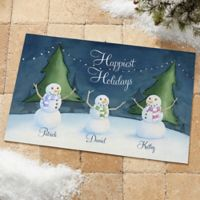 Our Snowman Family 20-Inch x 35-Inch Door Mat