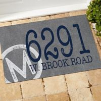Initial Stamped Address 18-Inch x 27-Inch Multicolor Door Mat
