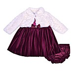 Nanette Baby® Size 3-6M 2-Piece Pleated Panne Dress and Faux Fur Jacket Set in Plum