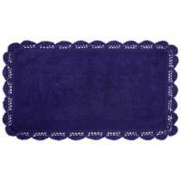 Laura Ashley Crochet 24-Inch x 40-Inch Bath Rug in Indigo