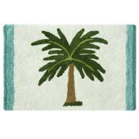 Bacova Palm Tree Bath Rug in Green/White