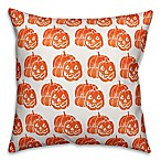 Designs Direct Jack-O-Lantern Square Throw Pillow in Orange