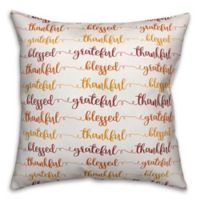 Designs Direct Grateful Thankful Square Throw Pillow in White