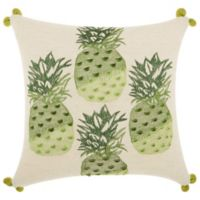 Mina Victory by Nourison Pineapples Square Throw Pillow in Green