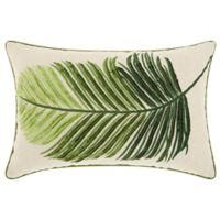 Mina Victory by Nourison Palm Leaf Oblong Throw Pillow in Green