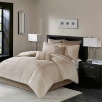 Madison Park Camelia 7-Piece Queen Embroidered Comforter in Natural