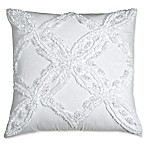 Peri Home Matelassé Medallion Metallic Chenille Square Throw Pillow in White