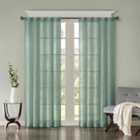 Madison Park Harper Solid Crushed 95-Inch Rod Pocket/Back Tab Window Curtain Panel Pair in Aqua