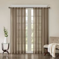 Madison Park Harper Solid Crushed 63-Inch Rod Pocket/Back Tab Window Curtain Panel Pair in Taupe