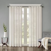 Madison Park Harper Solid Crushed 63-Inch Rod Pocket/Back Tab Window Curtain Panel Pair in White