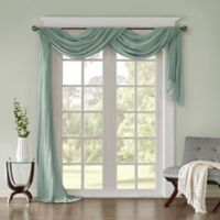Madison Park Harper Solid Crushed Sheer 144-Inch Scarf Window Valance in Aqua