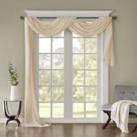 Madison Park Harper Solid Crushed Sheer 144-Inch Scarf Window Valance in Cream